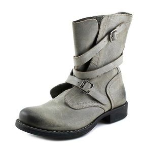 Diba Joyce Leather Buckle Moto Distressed Boots